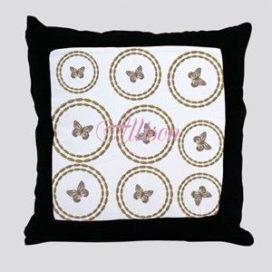 Cute Gold Butterfly Pattern Add Name Throw Pillow