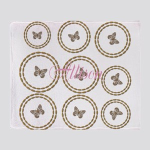 Cute Gold Butterfly Pattern Add Name Throw Blanket
