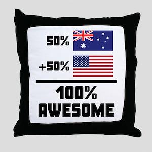 Awesome Australian American Throw Pillow