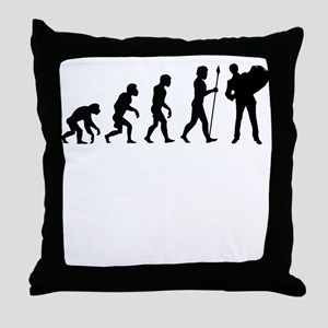Accordion Player Evolution Throw Pillow