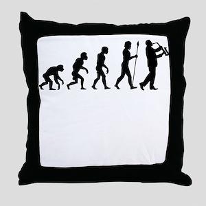 Saxophone Player Evolution Throw Pillow