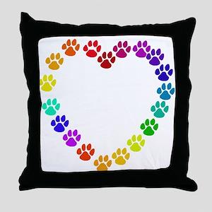 Cat Print Heart Throw Pillow