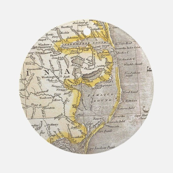 Vintage Map of The Outer Banks (181 Round Ornament