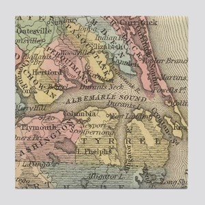 Vintage Map of The Outer Banks (1859) Tile Coaster