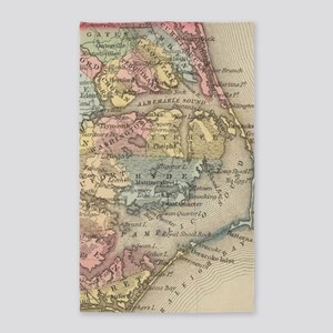 Vintage Map of The Outer Banks (1859) Area Rug