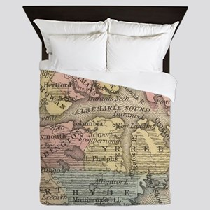 Vintage Map of The Outer Banks (1859) Queen Duvet
