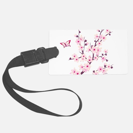 Cherry Blossom with Butterfly Luggage Tag