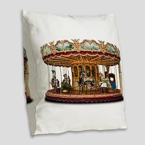 Carousel Burlap Throw Pillow