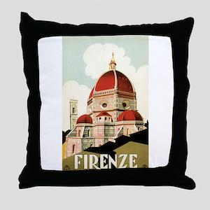 Vintage Travel Poster Firenze Throw Pillow