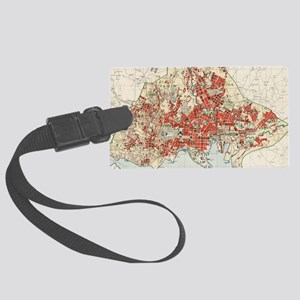 Vintage Map of Oslo Norway (1911 Large Luggage Tag