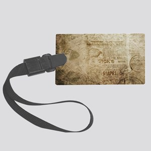 Antique Vintage Worn Decor Paper Large Luggage Tag