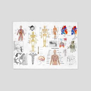 Human Anatomy Charts 5'x7'Area Rug