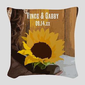 Sunflower wedding gifts cafepress country sunflower wedding woven throw pillow junglespirit Image collections