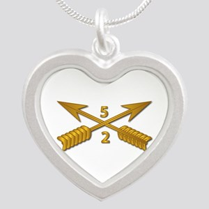 2nd Bn 5th SFG Branch wo Txt Silver Heart Necklace