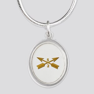 2nd Bn 5th SFG Branch wo Txt Silver Oval Necklace