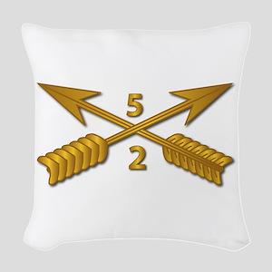 2nd Bn 5th SFG Branch wo Txt Woven Throw Pillow