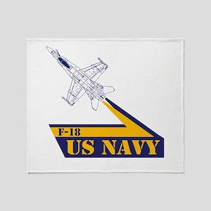 US NAVY Hornet F-18 Throw Blanket