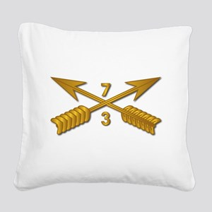 3rd Bn 7th SFG Branch wo Txt Square Canvas Pillow