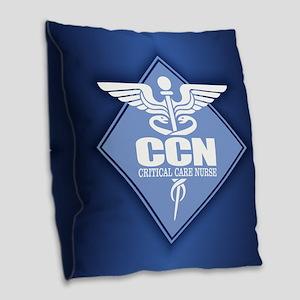 Critical Care Nurse Burlap Throw Pillow