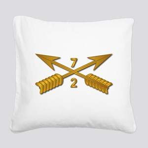 2nd Bn 7th SFG Branch wo Txt Square Canvas Pillow
