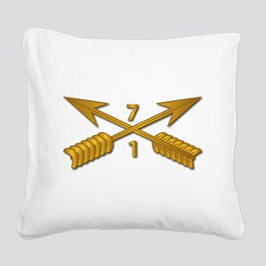 1st Bn 7th SFG Branch wo Txt Square Canvas Pillow