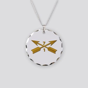 1st Bn 7th SFG Branch wo Txt Necklace Circle Charm