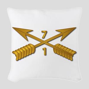 1st Bn 7th SFG Branch wo Txt Woven Throw Pillow