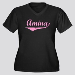 Amina Vintage (Pink) Women's Plus Size V-Neck Dark
