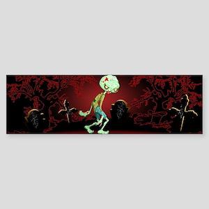 Zombie Creepy Monster Cartoon Bumper Sticker