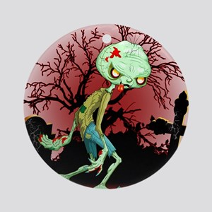 Zombie Creepy Monster Cartoon Round Ornament