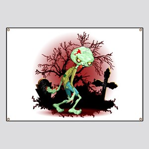 Zombie Creepy Monster Cartoon Banner