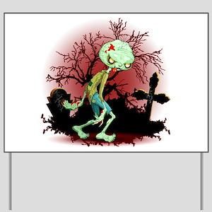Zombie Creepy Monster Cartoon Yard Sign
