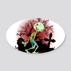 Zombie Creepy Monster Cartoon Oval Car Magnet