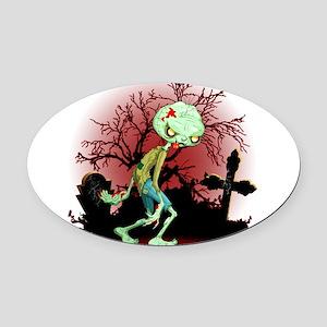Zombie Creepy Monster Cartoon Oval Car Magnet