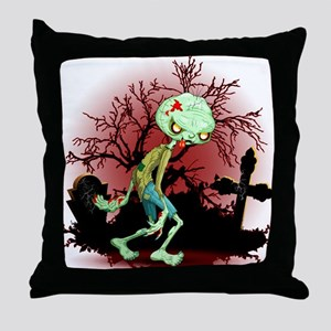 Zombie Creepy Monster Cartoon Throw Pillow