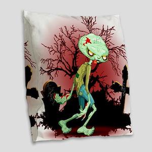 Zombie Creepy Monster Cartoon Burlap Throw Pillow