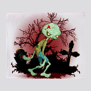 Zombie Creepy Monster Cartoon Throw Blanket