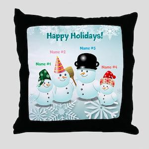 Cute Family Of Snowmen Throw Pillow