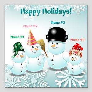 "Cute Family Of Snowmen Square Car Magnet 3"" x 3"""