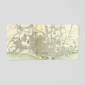 Vintage Map of Lisbon Portu Aluminum License Plate