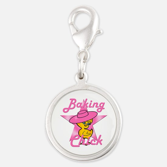 Baking Chick #8 Silver Round Charm