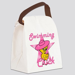 Swimming Chick #8 Canvas Lunch Bag