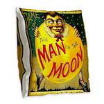 Man in The Moon Game Advertising Print Burlap Thro