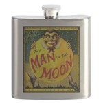 Man in The Moon Game Advertising Print Flask