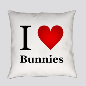 I Love Bunnies Everyday Pillow