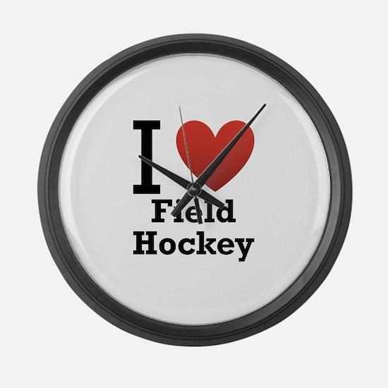 i-love-field-Hockey-light-tee.png Large Wall Clock
