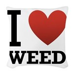 i-love-weed Woven Throw Pillow