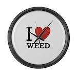i-love-weed Large Wall Clock