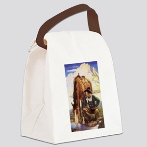 Vintage Cowboy by NC Wyeth Canvas Lunch Bag