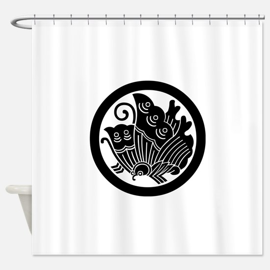 Ageha butterfly in circle Shower Curtain